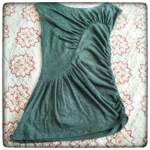 Anthropologie Deletta Ruched Olive Green Top M